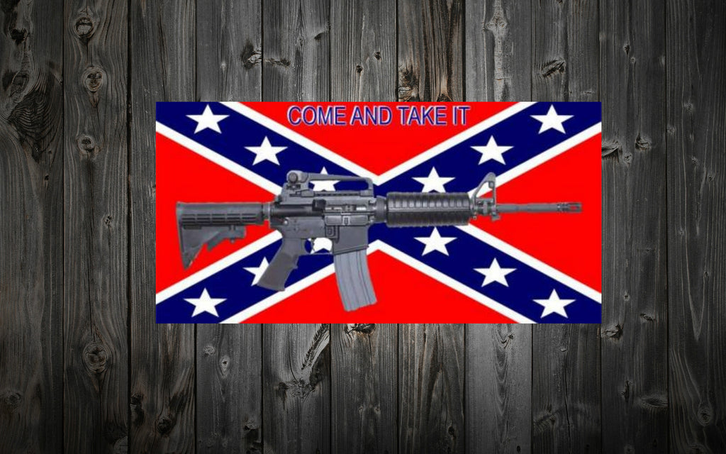"""Come and Take it"" with M4 Confederate Flag Bumper / Window Sticker"