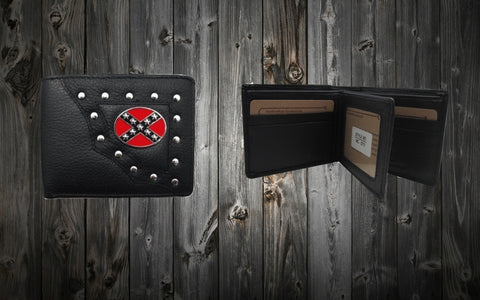 Confederate Flag Bi-Fold Wallet - Black Leather