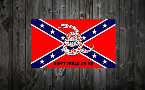 "Confederate Flag 3 ft. x 5 ft with ""Don't Tread On Me"""