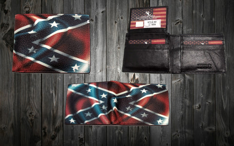 Confederate Flag Men's Bi-Fold Leather Wallet
