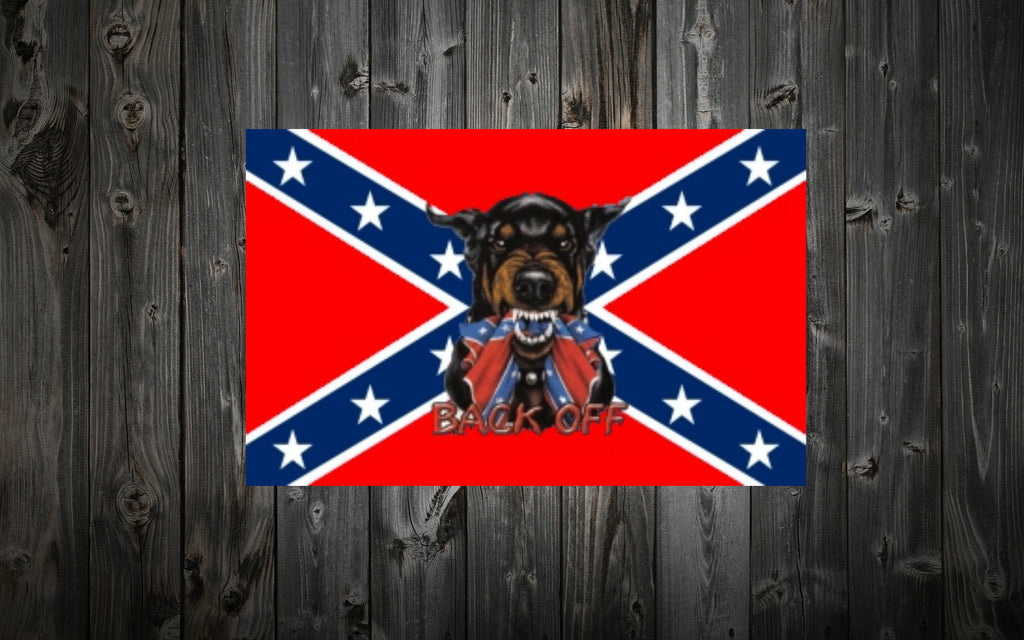 "Confederate Flag 3 ft. x 5 ft. with ""BACK OFF"" Doberman"