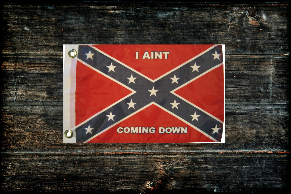 "Confederate Flag ""I Aint Coming Down"" 12"" x 18"""