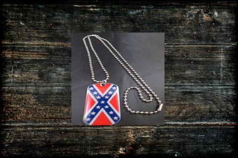 Stainless Steel Confederate Dog Tag / Necklace