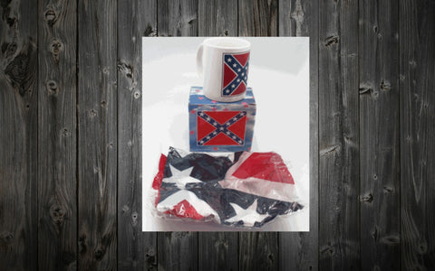 Confederate Flag Mug & Battle Flag Gift Set