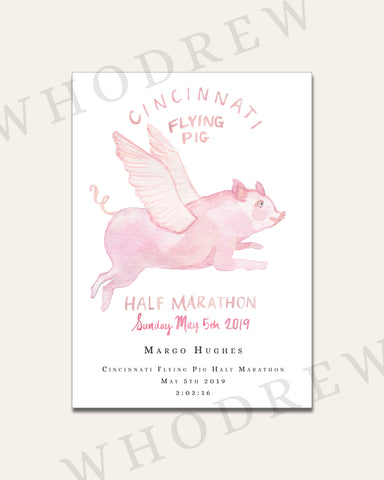 "Copy of Cincinnati Flying Pig Half Marathon 5x7"" Print"