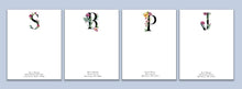 Load image into Gallery viewer, Floral Initials, set of 25 custom notecards