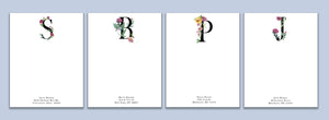 Floral Initials, set of 25 custom notecards