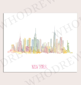 NYC Watercolor Skyline