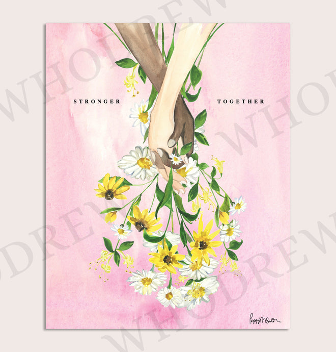 Stronger Together, Today's Bouquet Print, pink background