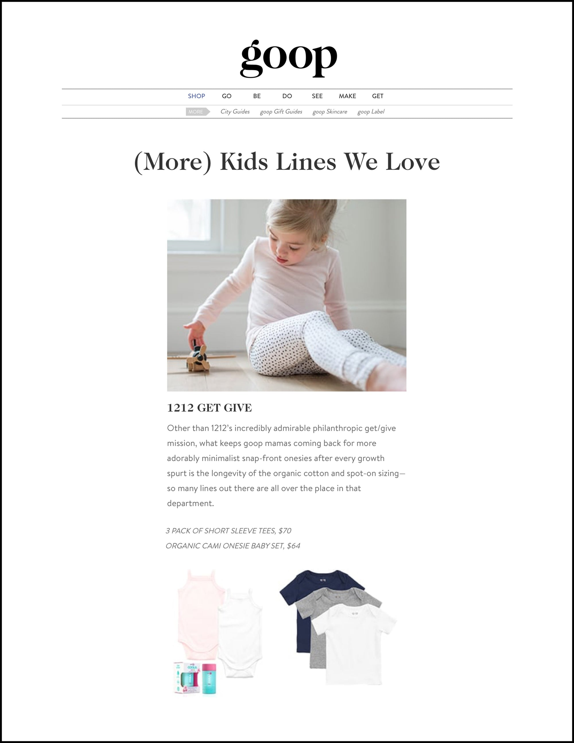 goop: (More) Kids Lines We Love, featuring 12|12