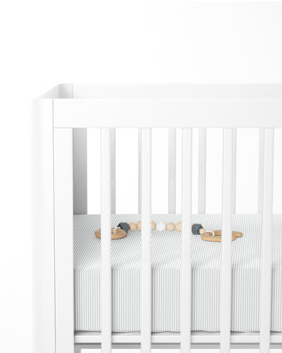 The Crib Sheet Grey Stripe Hover