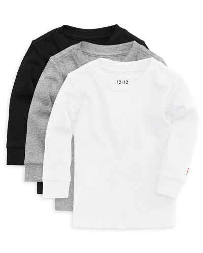 The Daily Long Sleeve Tee 3 Pack Black Grey White