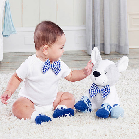 """Oscar In His Oxfords"" Plush Plus Puppy with Clip on Bow Tie and Two Pairs of Socks for Baby"