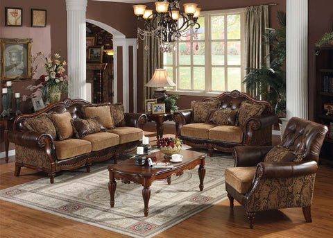 Traditional Chenille Bycast Leather Like Sofa Set