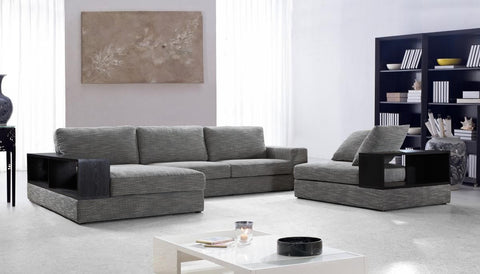 Anthem Modern Grey Fabric Sectional Sofa w/ Chair