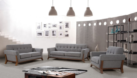 Divani Casa 0874 Modern Grey Fabric Sofa Set