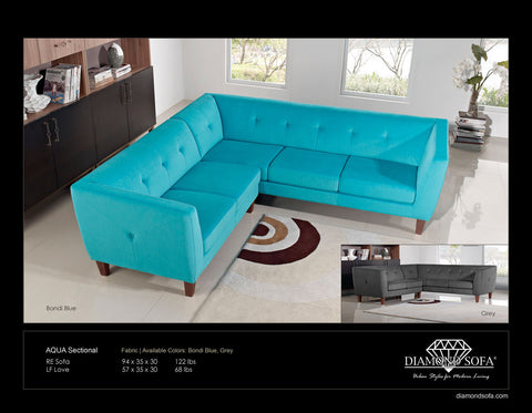 Aqua Modern Blue Fabric Sectional Corner