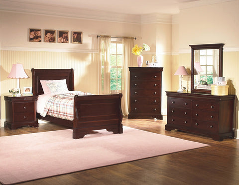 New Heritage Design Versaille 4 Piece Twin Bedroom Set in Bordeaux