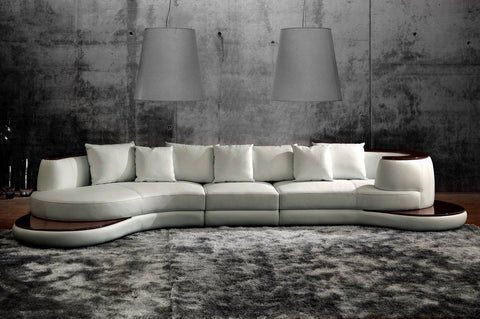 Rodus Rounded Corner Italian Leather Sectional Sofa With High Gloss Trim