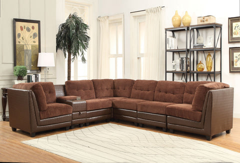 Vlord Brown Chenille Reversible Sectional by Acme