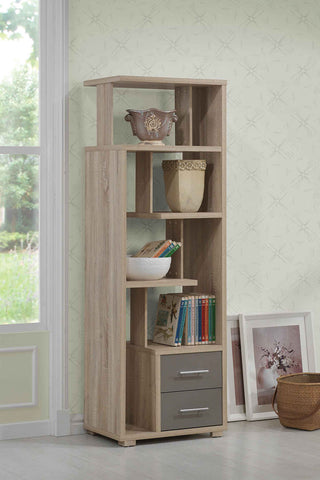 Helsa Bookcase With 2 Drawers in Light Oak