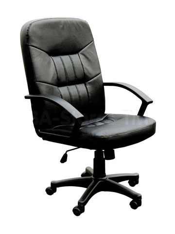 Black Color Faux Leather Contemporary Office Chair