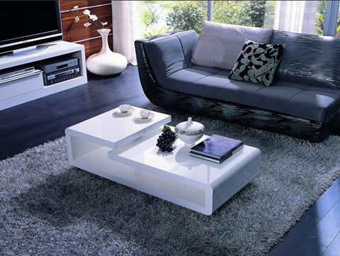 5011c modern white lacquer rectangular coffee table | empire