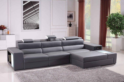 Divani Casa Polaris Mini - Contemporary Bonded Leather Sectional Sofa