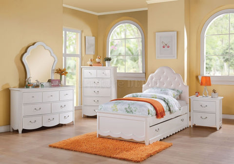 White/ Light Pink Twin Bed Set