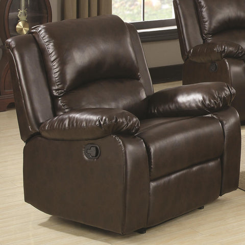 Boston Brown Vinyl Recliner with Pillow Arms