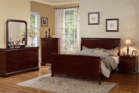 Poundex Cherry Wood Finish Queen Size 4 Piece Bedroom Set