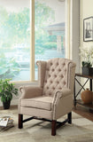 Manly Collection Upholstered Wing Back Chair with Nail Head Trim