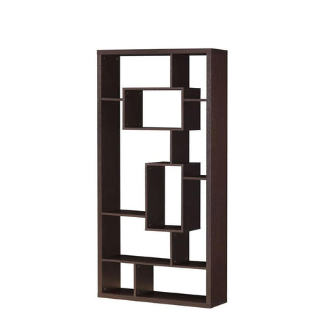 Mileta 10-Shelf Open Bookcase in Cappuccino