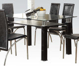 7 PC Clear Glass Dining Table Toffy