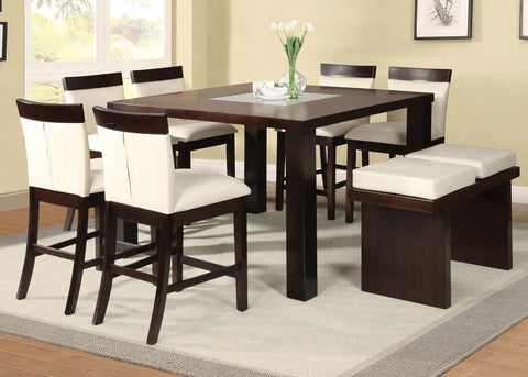 Keelin 9PC Espresso Square Counter Height Dining Set