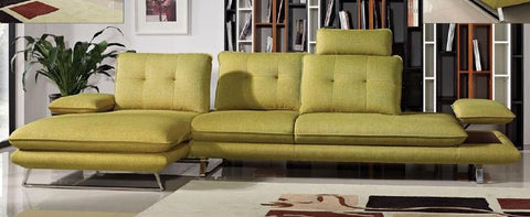 Eva 2 Piece Left Facing Chaise Fabric Sectional w/ Adjustable Backs in Dijon Yellow