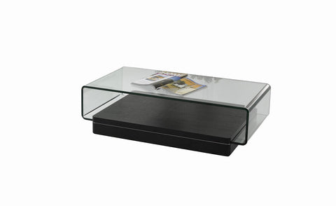 Modrest Vitro Modern Glass and Oak Coffee Table