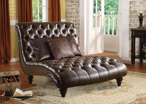 Anondale Lounge Chaise with 3Pillows in 2 Tone Brown PU