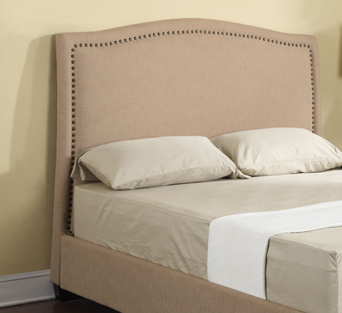 Abigail Fabric Upholstered Platform Bed in Tan