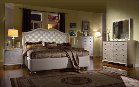 Pearl White Crystal Queen Bedroom Set
