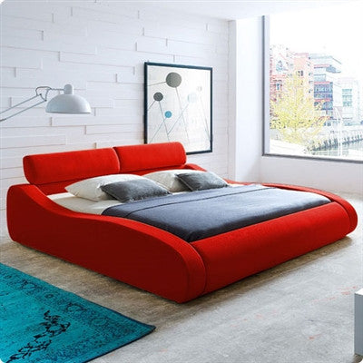 Aruba Red Upholstered Bed