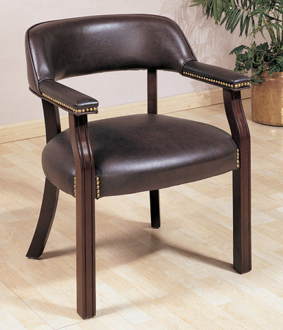 Cappuccino Burgundy Wood Leatherette Office Guest Chair