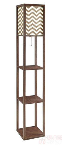 Cappuccino Wood Floor Lamp w/Three Shelves For Storage & Display