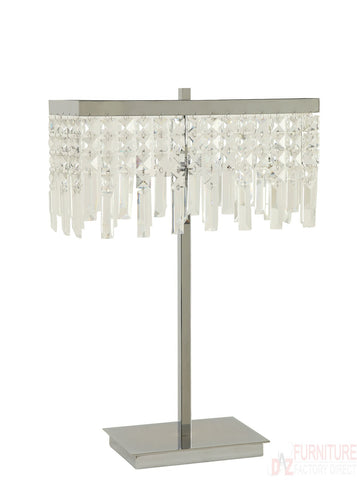 Chrome Glass Dropped Crystal Shade Table Lamp