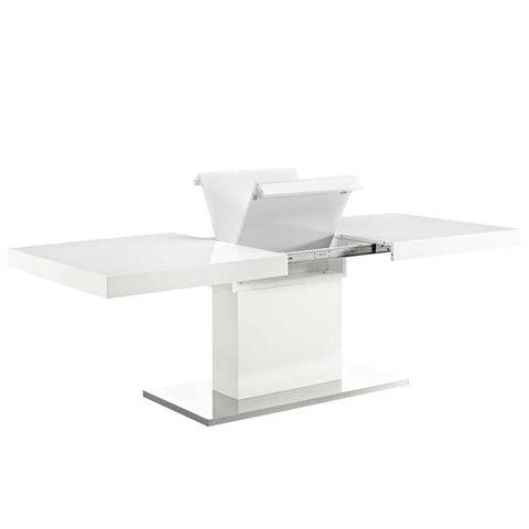 VECTOR EXPANDABLE DINING TABLE IN WHITE SILVER Table Only