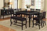"8PC Burgos 54""(18"" Leaf) x 54"" x 36"" Counter Height Table with Lazy Susan, Black"