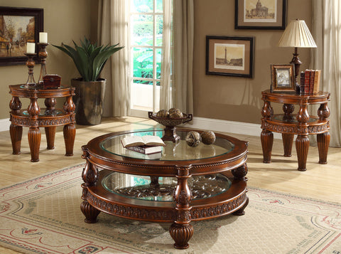 Traditional Homey Design Coffee Table + 2 End Tables