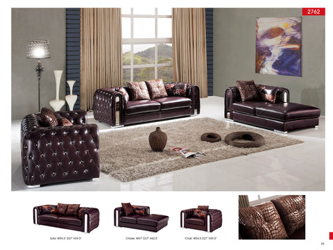 2762 Sofa Set | Tufted Leather U0026 Rhinestones