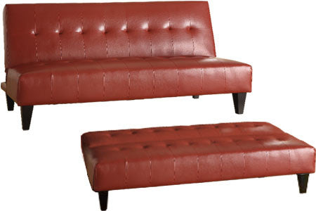 Red By-Cast Leather Futon Sofa Bed