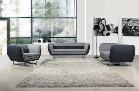 Vietta Modern Grey 2 Tone Fabric Sofa Set